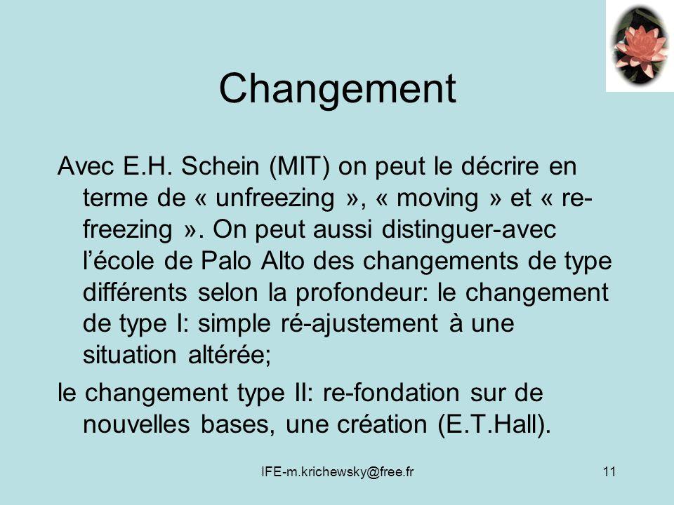 IFE-m.krichewsky@free.fr11 Changement Avec E.H. Schein (MIT) on peut le décrire en terme de « unfreezing », « moving » et « re- freezing ». On peut au