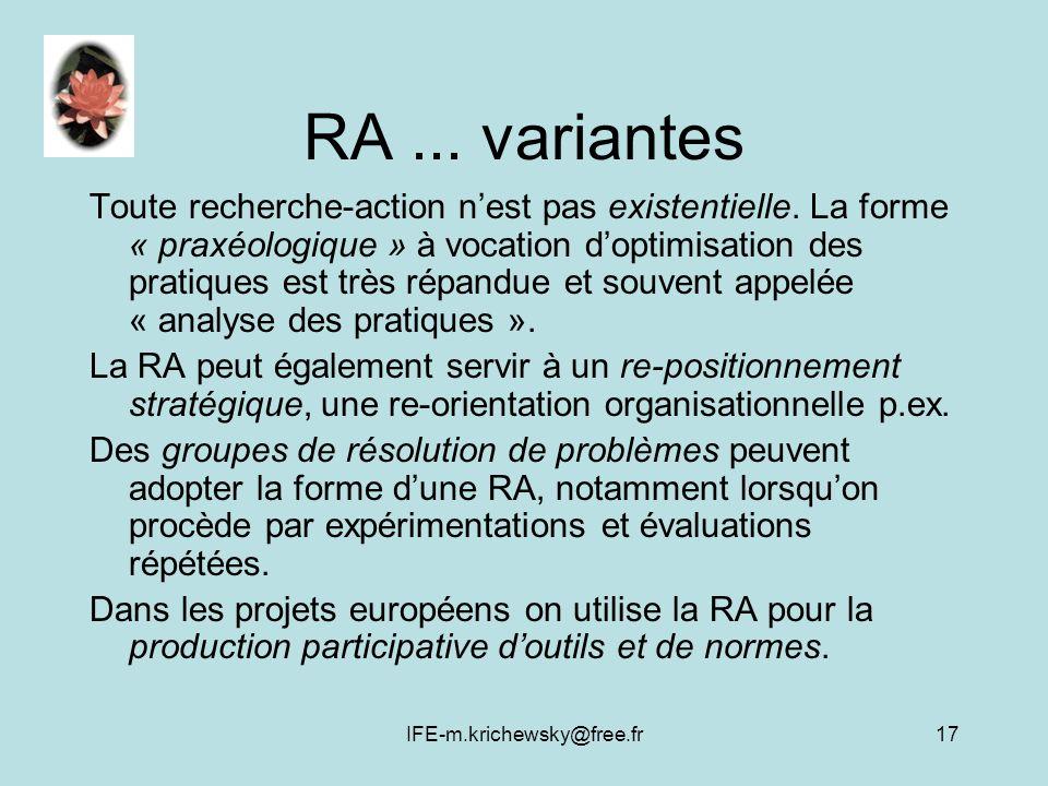 IFE-m.krichewsky@free.fr17 RA... variantes Toute recherche-action nest pas existentielle. La forme « praxéologique » à vocation doptimisation des prat
