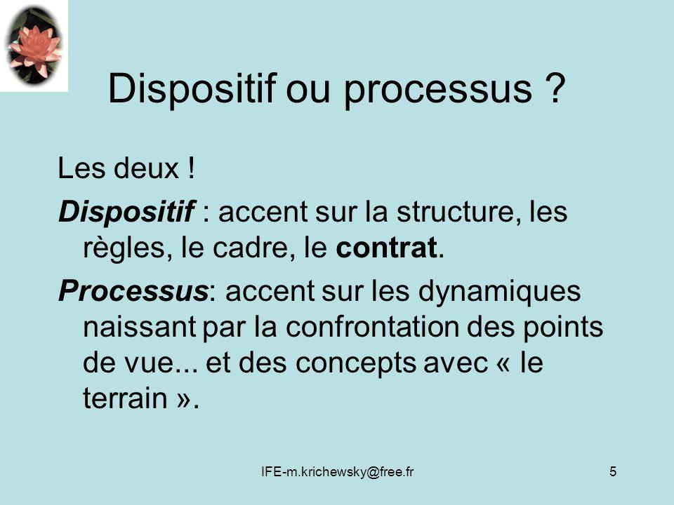 IFE-m.krichewsky@free.fr5 Dispositif ou processus ? Les deux ! Dispositif : accent sur la structure, les règles, le cadre, le contrat. Processus: acce