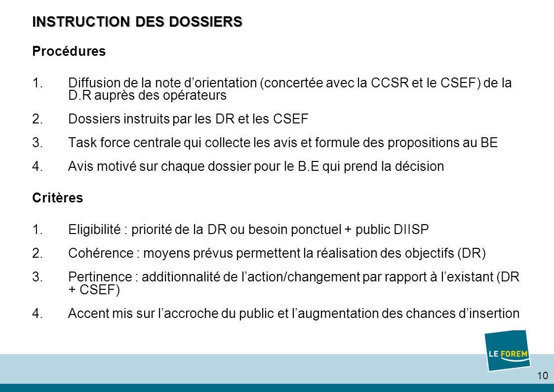 10 INSTRUCTION DES DOSSIERS Procédures 1.Diffusion de la note dorientation (concertée avec la CCSR et le CSEF) de la D.R auprès des opérateurs 2.Dossiers instruits par les DR et les CSEF 3.Task force centrale qui collecte les avis et formule des propositions au BE 4.Avis motivé sur chaque dossier pour le B.E qui prend la décision Critères 1.Eligibilité : priorité de la DR ou besoin ponctuel + public DIISP 2.Cohérence : moyens prévus permettent la réalisation des objectifs (DR) 3.Pertinence : additionnalité de laction/changement par rapport à lexistant (DR + CSEF) 4.Accent mis sur laccroche du public et laugmentation des chances dinsertion