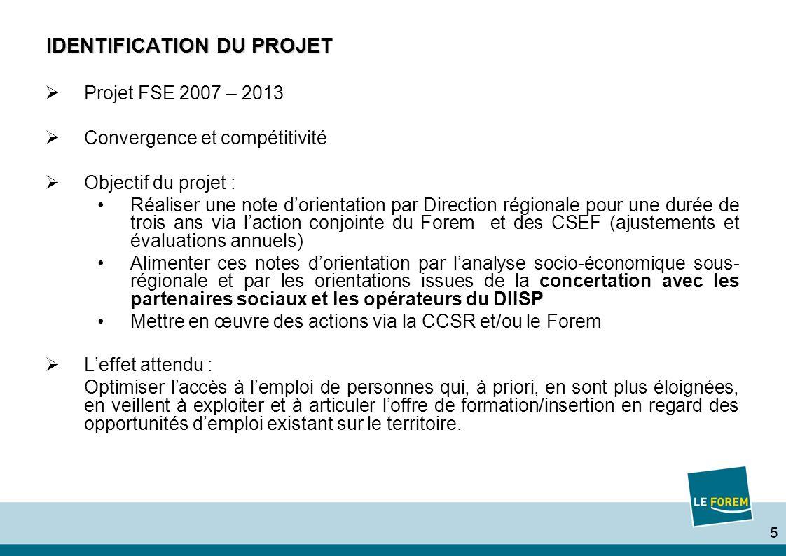5 IDENTIFICATION DU PROJET Projet FSE 2007 – 2013 Convergence et compétitivité Objectif du projet : Réaliser une note dorientation par Direction régio