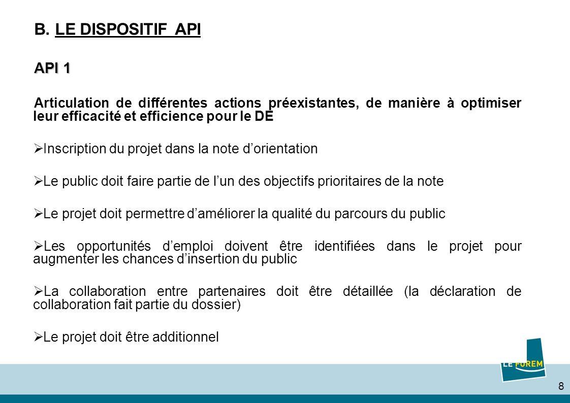 8 B. LE DISPOSITIF API API 1 Articulation de différentes actions préexistantes, de manière à optimiser leur efficacité et efficience pour le DE Inscri