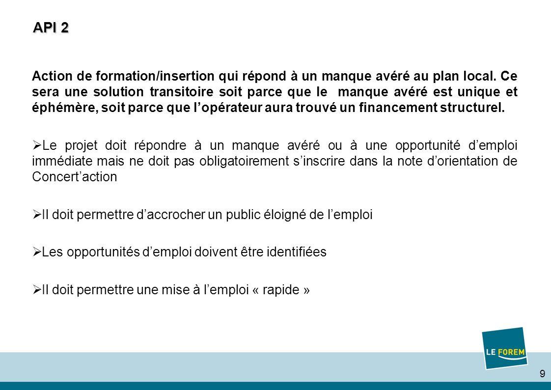 9 API 2 Action de formation/insertion qui répond à un manque avéré au plan local. Ce sera une solution transitoire soit parce que le manque avéré est