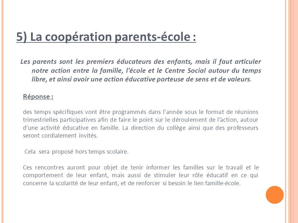5) La coopération parents-école : Les parents sont les premiers éducateurs des enfants, mais il faut articuler notre action entre la famille, l école et le Centre Social autour du temps libre, et ainsi avoir une action éducative porteuse de sens et de valeurs.