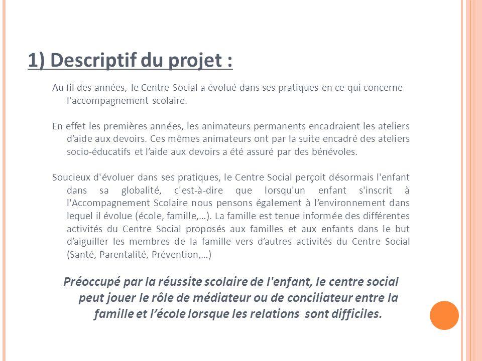 1) Descriptif du projet : Au fil des années, le Centre Social a évolué dans ses pratiques en ce qui concerne l accompagnement scolaire.