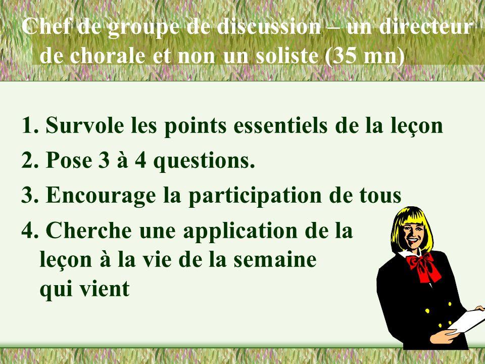 FONCTIONNEMENT DE LA CLASSE Chef de groupe de discussion (5 mn) Soccupe des membres absents. Coordinateur des soutiens (20 mn) a.Encourage le partage