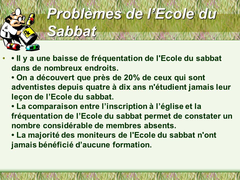 Problèmes de lEcole du Sabbat Il y a une baisse de fréquentation de l Ecole du sabbat dans de nombreux endroits.