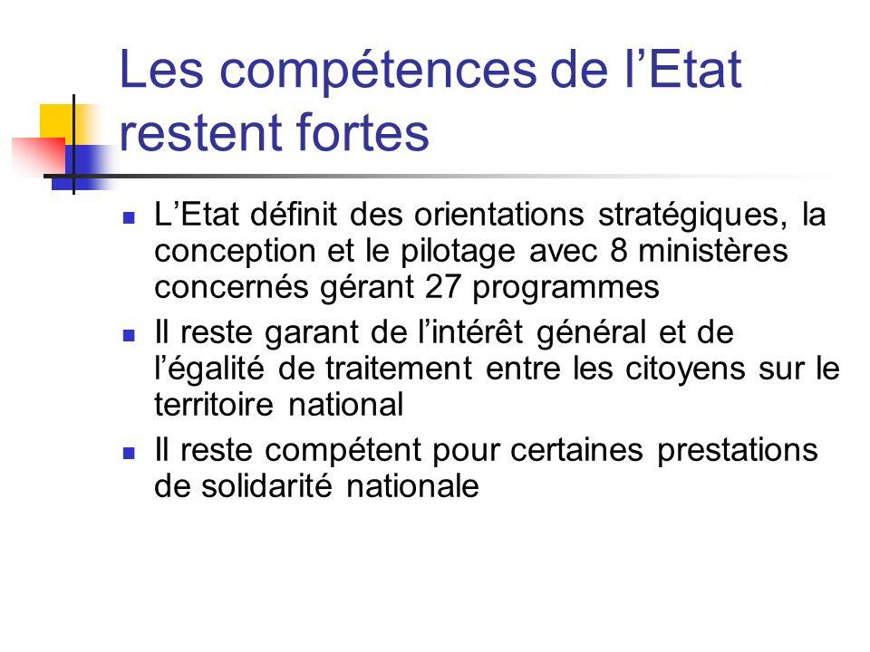 Les compétences de lEtat restent fortes LEtat définit des orientations stratégiques, la conception et le pilotage avec 8 ministères concernés gérant 2