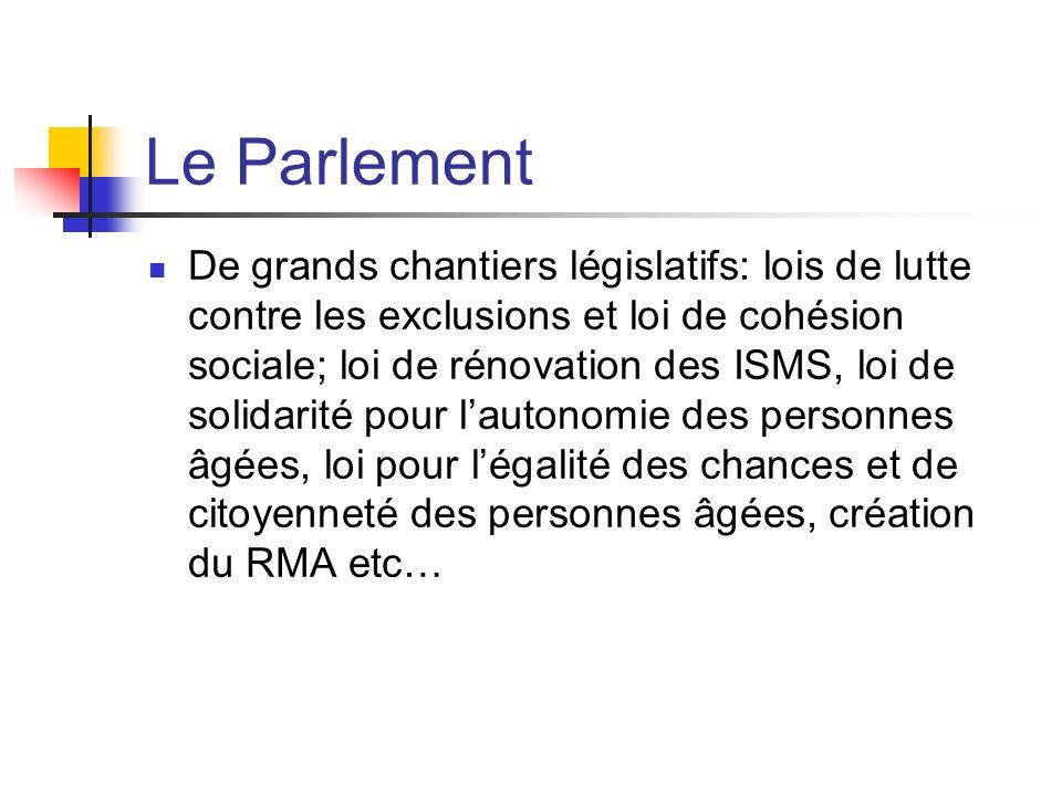 Le Parlement De grands chantiers législatifs: lois de lutte contre les exclusions et loi de cohésion sociale; loi de rénovation des ISMS, loi de solid