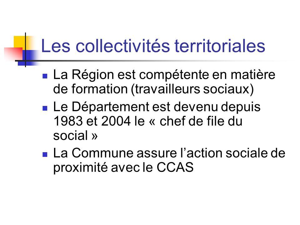 Les collectivités territoriales La Région est compétente en matière de formation (travailleurs sociaux) Le Département est devenu depuis 1983 et 2004 le « chef de file du social » La Commune assure laction sociale de proximité avec le CCAS