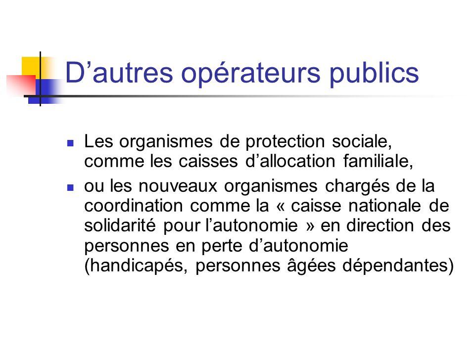 Dautres opérateurs publics Les organismes de protection sociale, comme les caisses dallocation familiale, ou les nouveaux organismes chargés de la coo