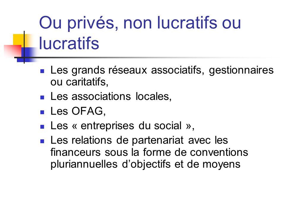 Ou privés, non lucratifs ou lucratifs Les grands réseaux associatifs, gestionnaires ou caritatifs, Les associations locales, Les OFAG, Les « entrepris