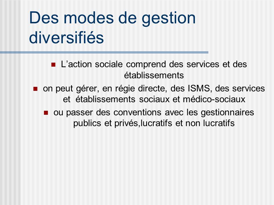 Des modes de gestion diversifiés Laction sociale comprend des services et des établissements on peut gérer, en régie directe, des ISMS, des services et établissements sociaux et médico-sociaux ou passer des conventions avec les gestionnaires publics et privés,lucratifs et non lucratifs