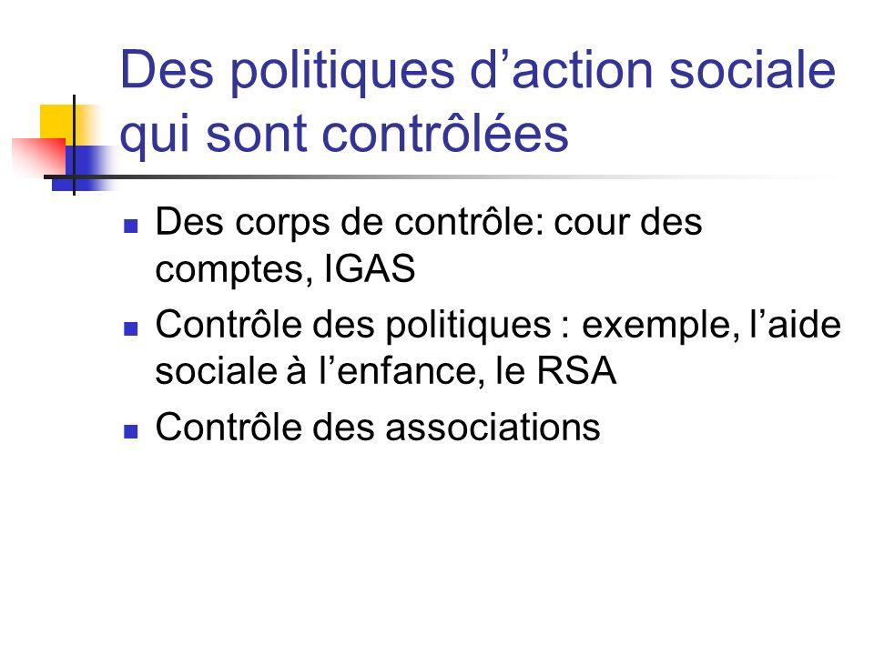 Des politiques daction sociale qui sont contrôlées Des corps de contrôle: cour des comptes, IGAS Contrôle des politiques : exemple, laide sociale à lenfance, le RSA Contrôle des associations