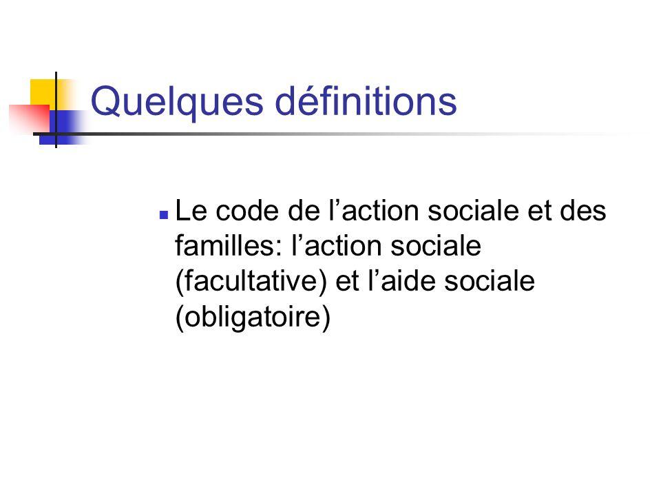 Quelques définitions Le code de laction sociale et des familles: laction sociale (facultative) et laide sociale (obligatoire)