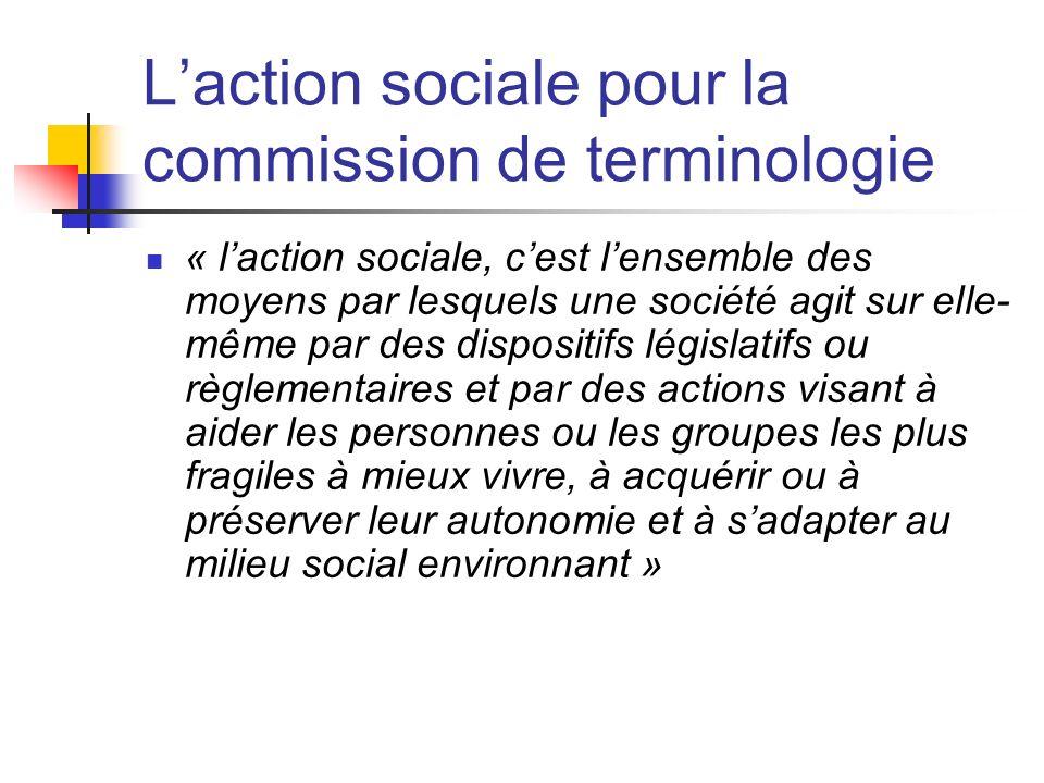 Laction sociale pour la commission de terminologie « laction sociale, cest lensemble des moyens par lesquels une société agit sur elle- même par des d