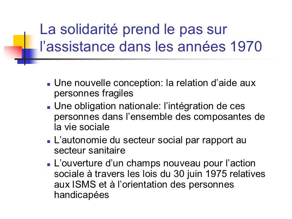 La solidarité prend le pas sur lassistance dans les années 1970 Une nouvelle conception: la relation daide aux personnes fragiles Une obligation natio