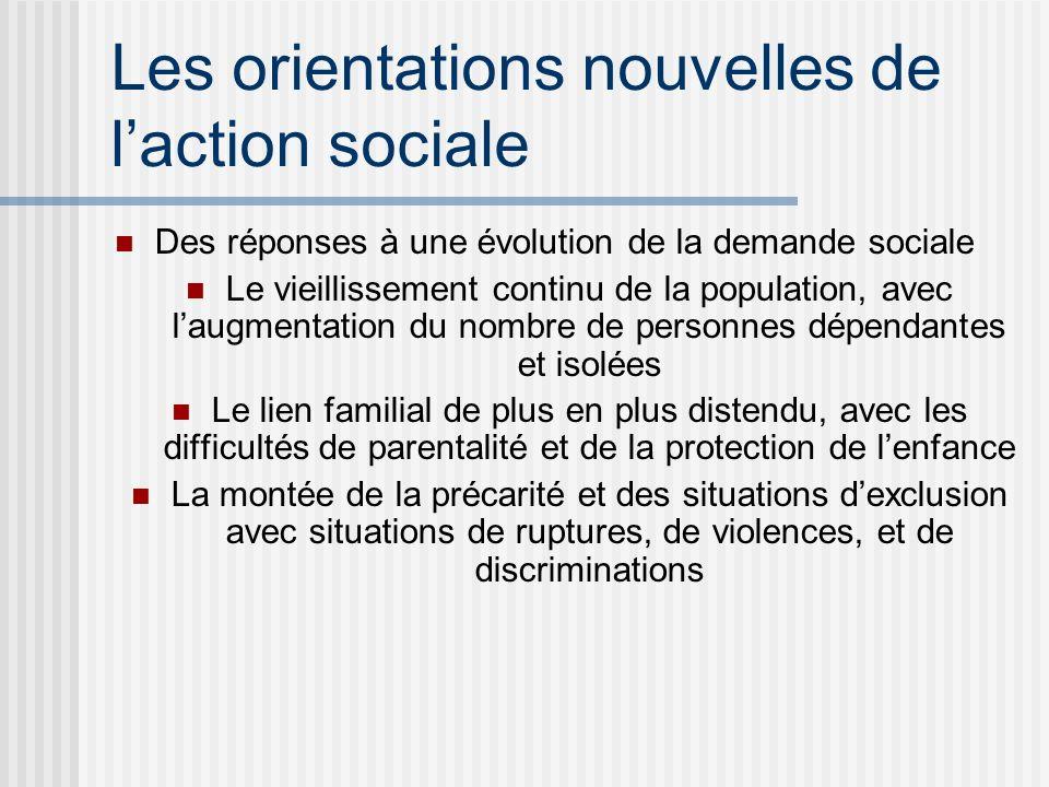 Les orientations nouvelles de laction sociale Des réponses à une évolution de la demande sociale Le vieillissement continu de la population, avec laug