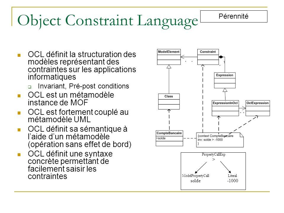 Object Constraint Language OCL définit la structuration des modèles représentant des contraintes sur les applications informatiques Invariant, Pré-pos