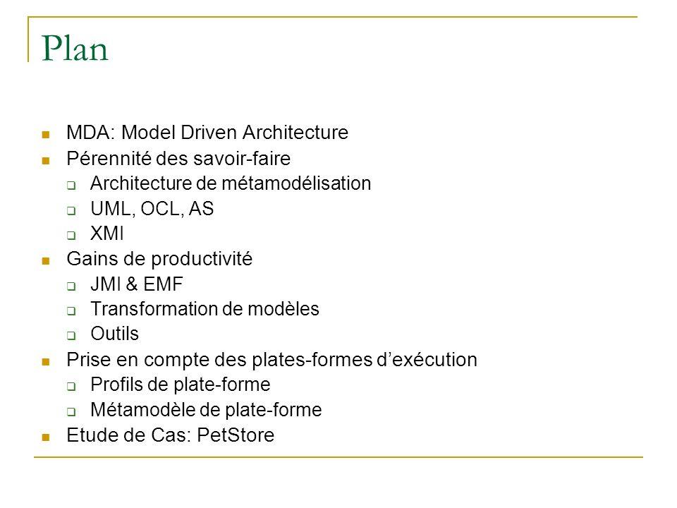 Plan MDA: Model Driven Architecture Pérennité des savoir-faire Architecture de métamodélisation UML, OCL, AS XMI Gains de productivité JMI & EMF Trans