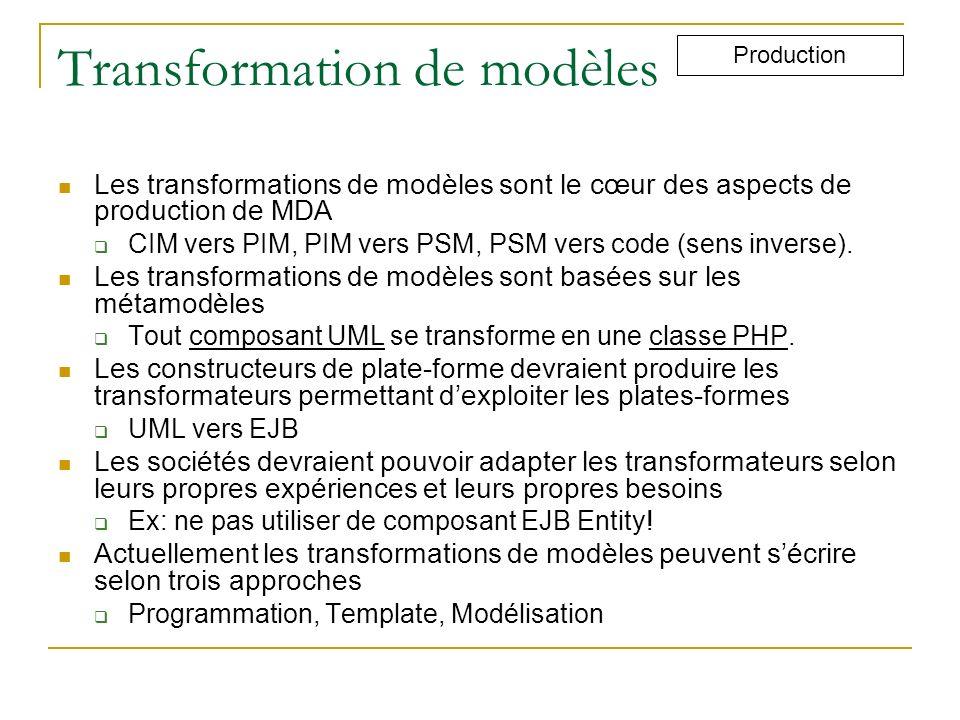 Transformation de modèles Les transformations de modèles sont le cœur des aspects de production de MDA CIM vers PIM, PIM vers PSM, PSM vers code (sens