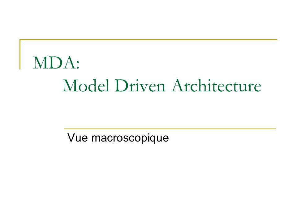 MDA: Model Driven Architecture Vue macroscopique