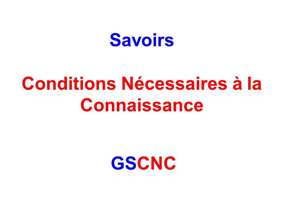 Savoirs Conditions Nécessaires à la Connaissance GSCNC