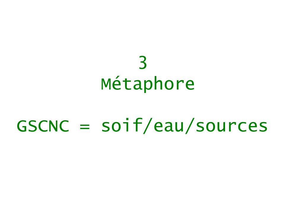 3 Métaphore GSCNC = soif/eau/sources