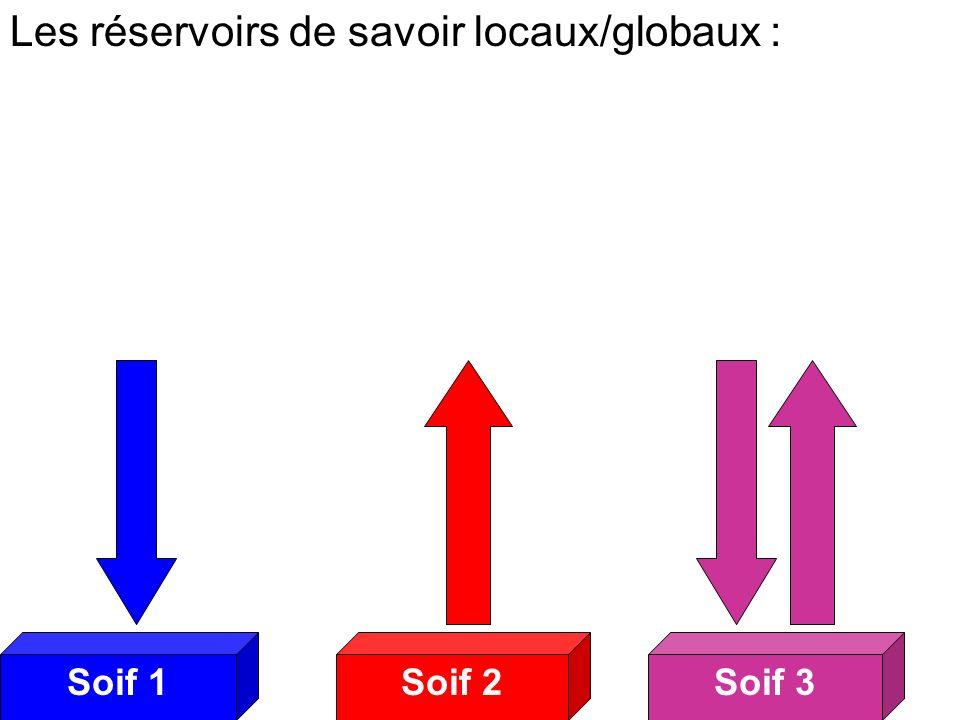 Soif 2Soif 3Soif 1 Soifs 2 Les réservoirs de savoir locaux/globaux :