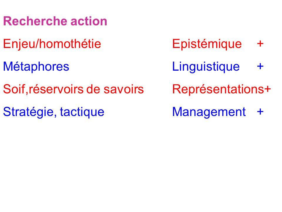 Synthèse Recherche action Enjeu/homothétieEpistémique+ MétaphoresLinguistique+ Soif,réservoirs de savoirsReprésentations+ Stratégie, tactiqueManagement+