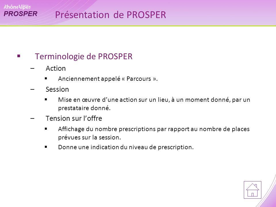 Présentation de PROSPER Terminologie de PROSPER –Action Anciennement appelé « Parcours ».