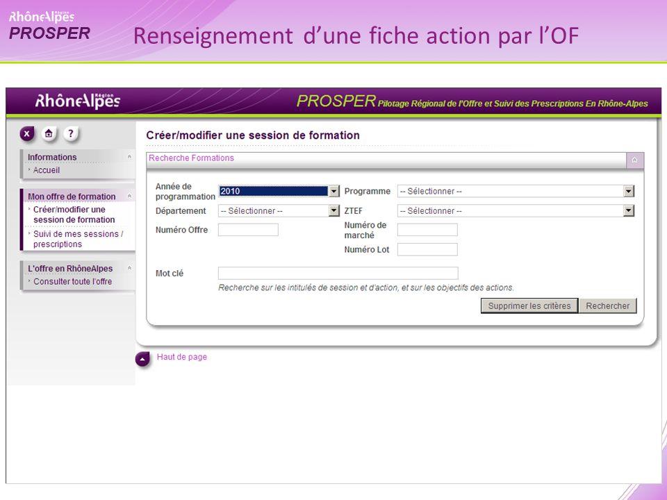 Renseignement dune fiche action par lOF