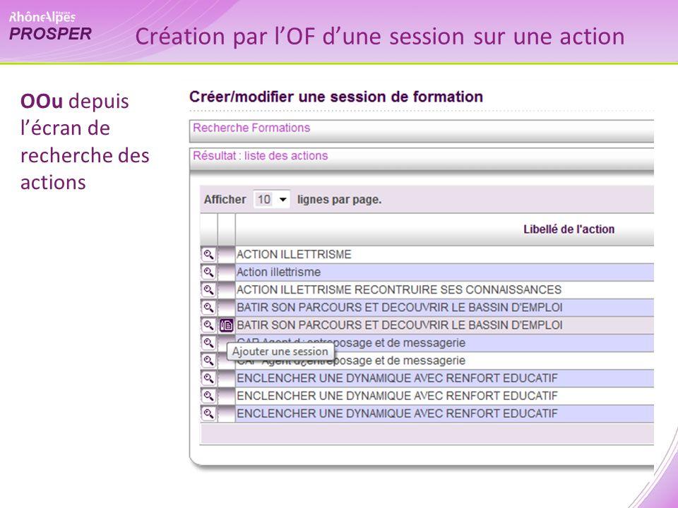 Création par lOF dune session sur une action OOu depuis lécran de recherche des actions