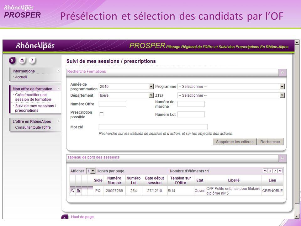 Présélection et sélection des candidats par lOF