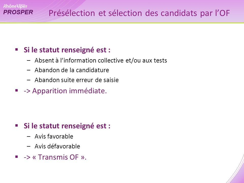 Présélection et sélection des candidats par lOF Si le statut renseigné est : –Absent à linformation collective et/ou aux tests –Abandon de la candidature –Abandon suite erreur de saisie -> Apparition immédiate.