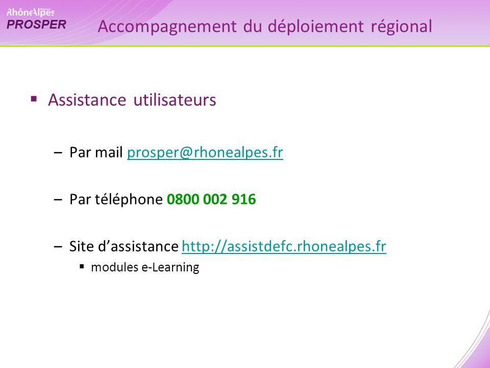 Accompagnement du déploiement régional Assistance utilisateurs –Par mail prosper@rhonealpes.frprosper@rhonealpes.fr –Par téléphone 0800 002 916 –Site dassistance http://assistdefc.rhonealpes.frhttp://assistdefc.rhonealpes.fr modules e-Learning