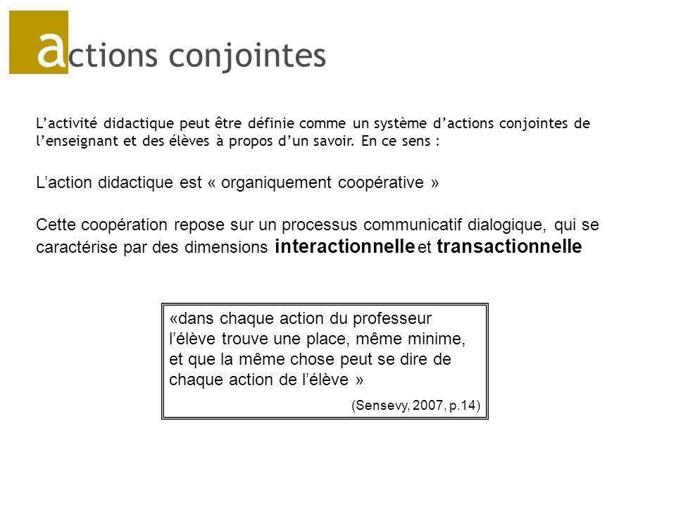 a ctions conjointes Lactivité didactique peut être définie comme un système dactions conjointes de lenseignant et des élèves à propos dun savoir.