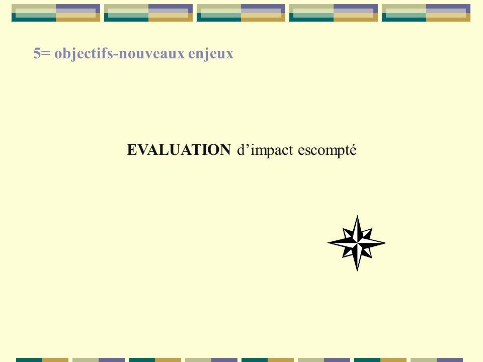 EVALUATION dimpact escompté 5= objectifs-nouveaux enjeux