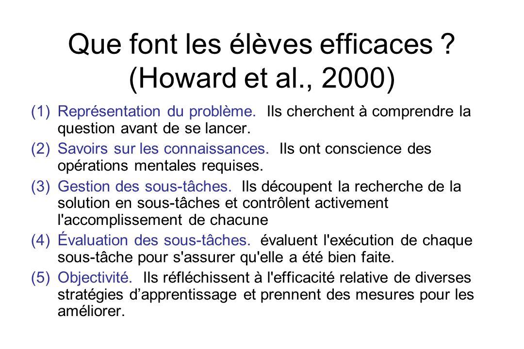 Que font les élèves efficaces ? (Howard et al., 2000) (1) Représentation du problème. Ils cherchent à comprendre la question avant de se lancer. (2) S