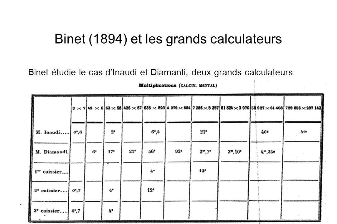 Binet (1894) et les grands calculateurs Binet étudie le cas dInaudi et Diamanti, deux grands calculateurs Il compare leurs performances à celles de tr