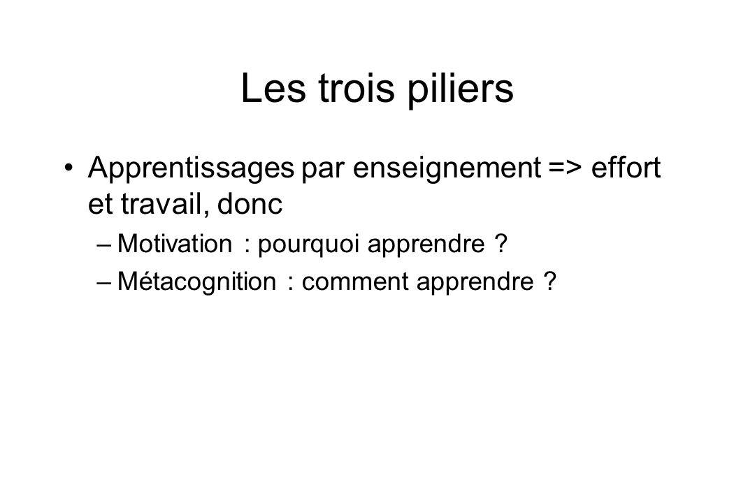 Les trois piliers Apprentissages par enseignement => effort et travail, donc –Motivation : pourquoi apprendre ? –Métacognition : comment apprendre ?