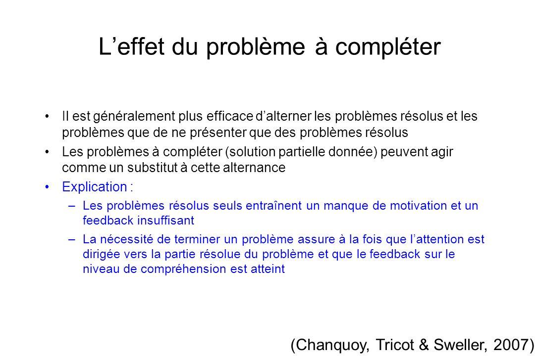Leffet du problème à compléter Il est généralement plus efficace dalterner les problèmes résolus et les problèmes que de ne présenter que des problème