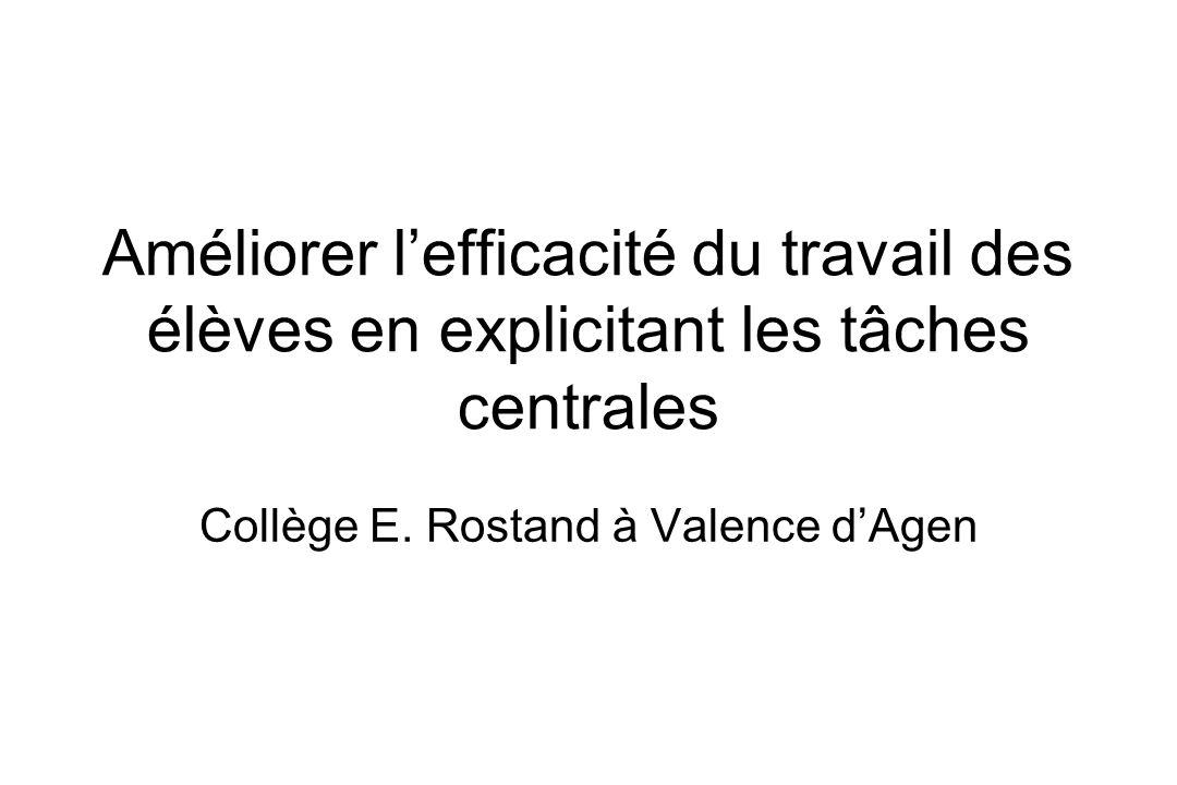 Améliorer lefficacité du travail des élèves en explicitant les tâches centrales Collège E. Rostand à Valence dAgen