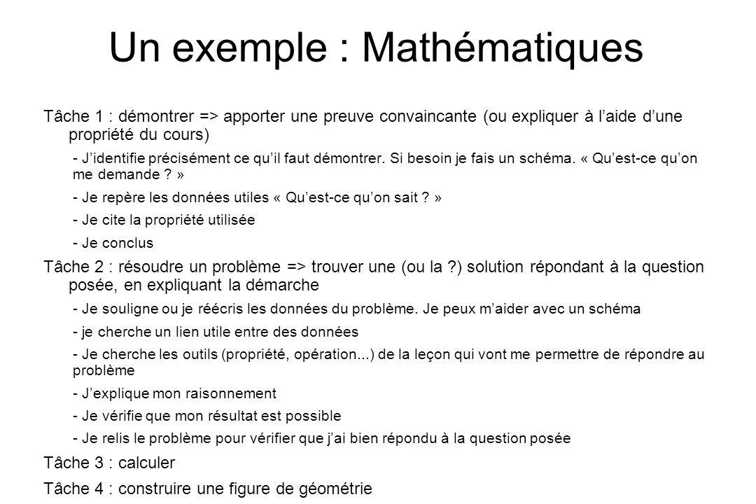 Un exemple : Mathématiques Tâche 1 : démontrer => apporter une preuve convaincante (ou expliquer à laide dune propriété du cours) - Jidentifie précisé