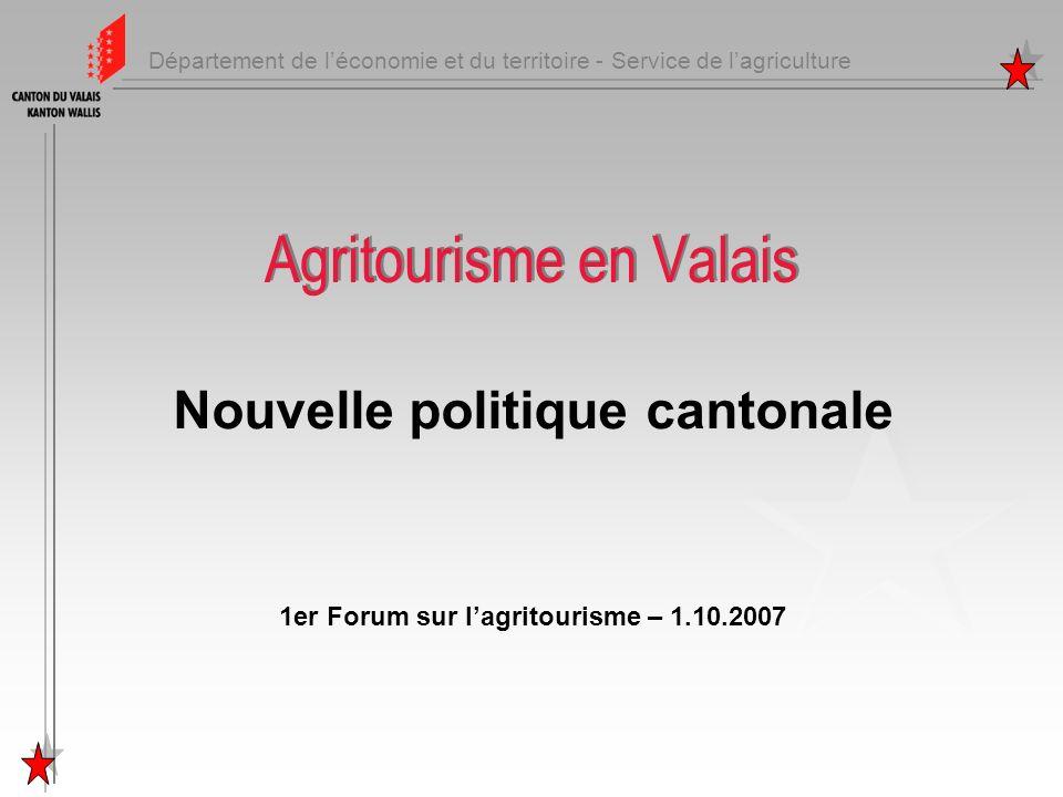 Département de léconomie et du territoire - Service de lagriculture Agritourisme en Valais Nouvelle politique cantonale 1er Forum sur lagritourisme –