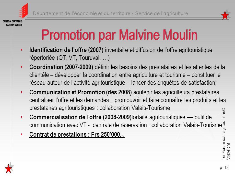 Département de léconomie et du territoire - Service de lagriculture 1er Forum sur l'agritourisme© Copyright p. 13 Promotion par Malvine Moulin Identif