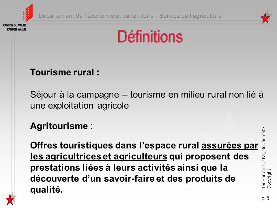 Département de léconomie et du territoire - Service de lagriculture 1er Forum sur l'agritourisme© Copyright p. 5 Définitions Tourisme rural : Séjour à