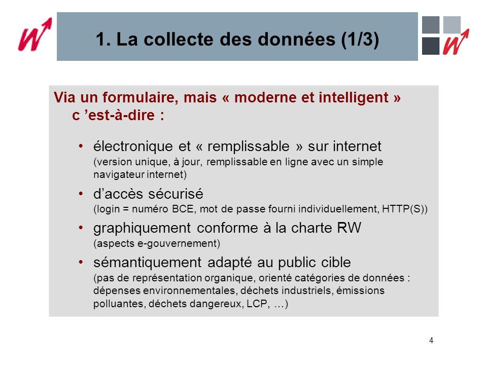 4 1. La collecte des données (1/3) Via un formulaire, mais « moderne et intelligent » c est-à-dire : électronique et « remplissable » sur internet (ve