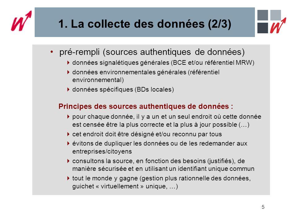 5 1. La collecte des données (2/3) pré-rempli (sources authentiques de données) données signalétiques générales (BCE et/ou référentiel MRW) données en
