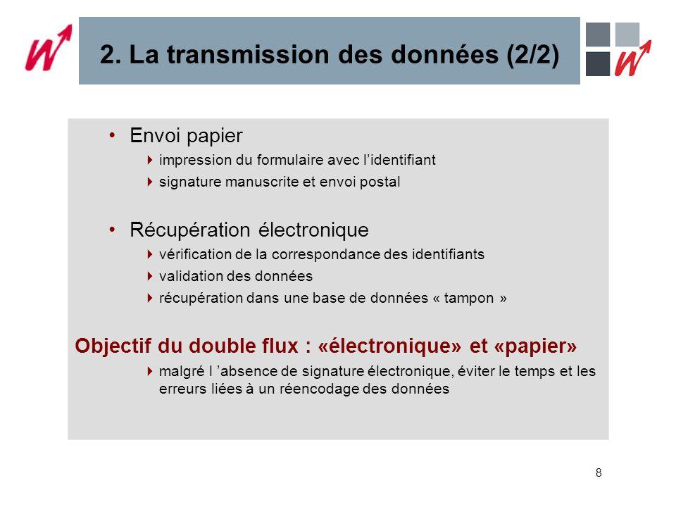 8 2. La transmission des données (2/2) Envoi papier impression du formulaire avec lidentifiant signature manuscrite et envoi postal Récupération élect